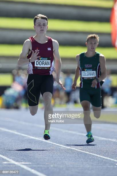 Jake Doran of Queensland competes in the men 100m under 18s prelims on day two of the 2017 Australian Athletics Championships at Sydney Olympic Park...