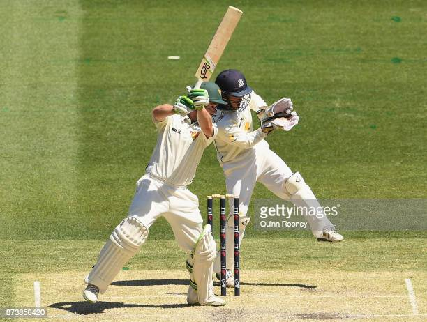 Jake Doran of Tasmania bats during day two of the Sheffield Shield match between Victoria and Tasmania at Melbourne Cricket Ground on November 14...