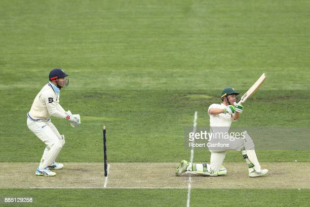 Jake Doran of Tasmania bats during day two of the Sheffield Shield match between New South Wales and Tasmania at Blundstone Arena on December 4 2017...