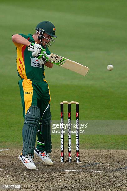 Jake Doran of Tasmania bats during the Matador BBQs One Day Cup match between Tasmania and Victoria at North Sydney Oval on October 20 2015 in Sydney...