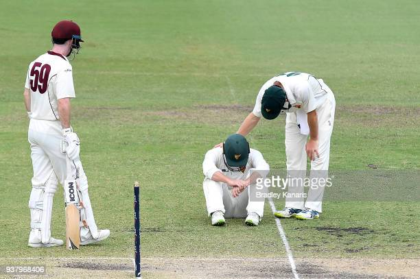 Jake Doran of Tasmania goes to the ground after being struck by the ball off the bat of James Peirson of Queensland during day four of the Sheffield...