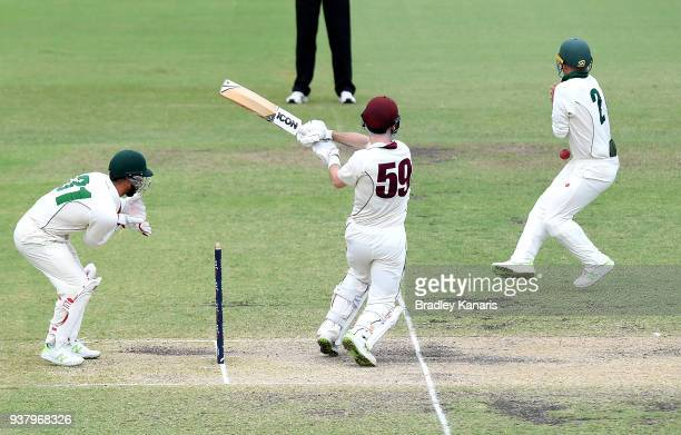 Jake Doran of Tasmania is struck by the ball off the bat of James Peirson of Queensland during day four of the Sheffield Shield Final match between...