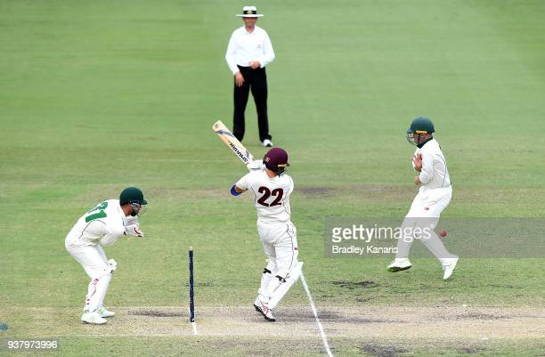 Jake Doran of Tasmania is struck by the ball off the batting of Mitch Swepson of Queensland during day four of the Sheffield Shield Final match...