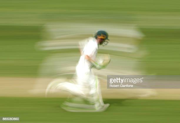 Jake Doran of Tasmania takes off for a run during day two of the Sheffield Shield match between New South Wales and Tasmania at Blundstone Arena on...