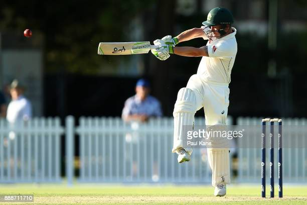 Jake Doran of the CA XI bats during the Two Day tour match between the Cricket Australia CA XI and England at Richardson Park on December 9 2017 in...
