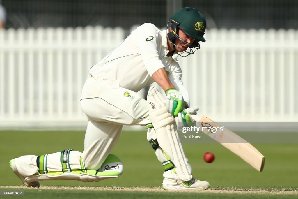 Jake Doran of the CA XI bats during the Two Day tour match between the Cricket Australia CA XI and England at Richardson Park on December 10, 2017 in Perth, Australia.