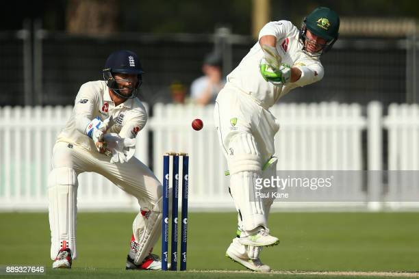 Jake Doran of the CA XI bats during the Two Day tour match between the Cricket Australia CA XI and England at Richardson Park on December 10 2017 in...