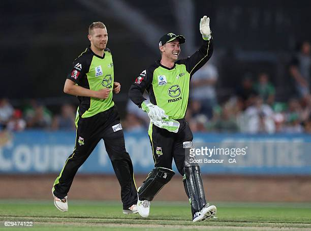 Jake Doran of the Thunder celebrates after running out Luke Wright of the Stars during the Twenty20 Border Bash match between the Melbourne Stars and...