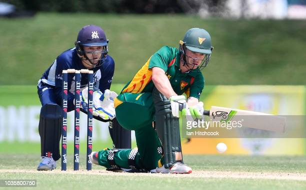 Jake Doran of the Tigers bats during the JLT One Day Cup match between Tasmania and Victoria at Riverway Stadium on September 19 2018 in Townsville...