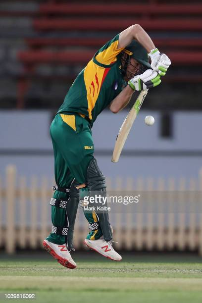 Jake Doran of the Tigers bats during the JLT One Day Cup match between New South Wales and Tasmania at North Sydney Oval on September 25 2018 in...