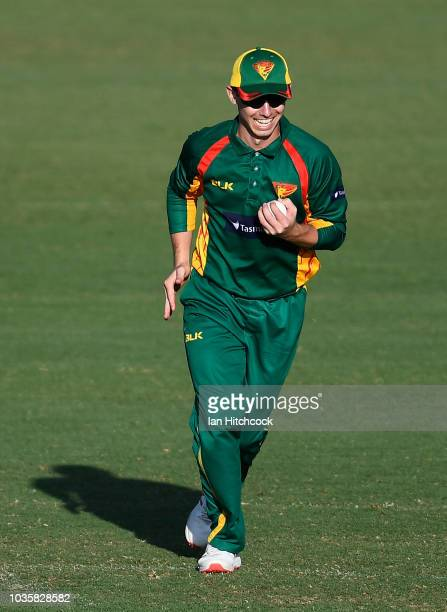 Jake Doran of the Tigers celebrates after catching out Will Sutherland of Victoria during the JLT One Day Cup match between Tasmania and Victoria at...