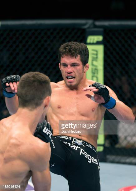 Jake Ellenberger faces Rory MacDonald in their welterweight bout during the UFC on FOX event at Key Arena on July 27, 2013 in Seattle, Washington.
