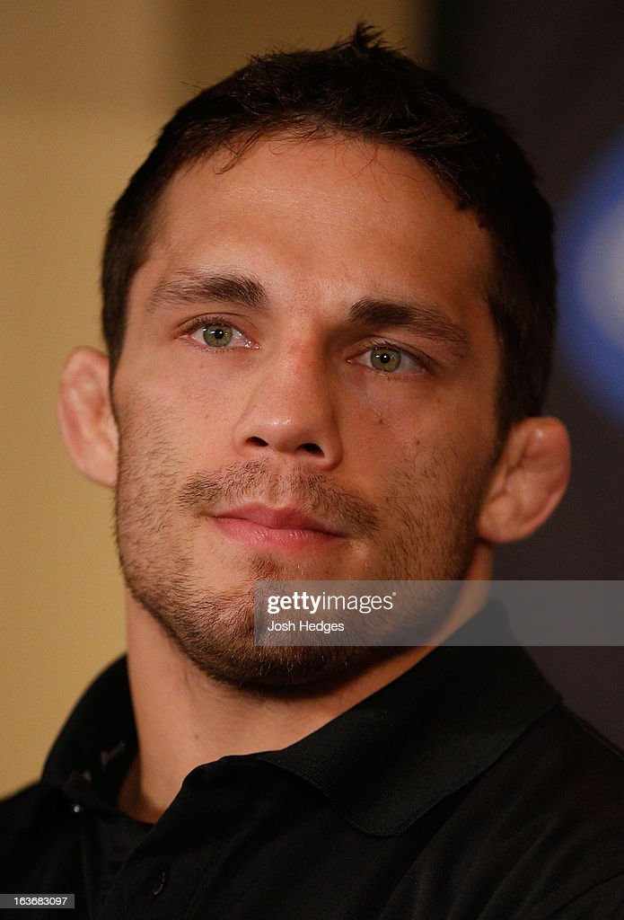 Jake Ellenberger interacts with media during the final press conference ahead of his UFC 158 bout at Bell Centre on March 14, 2013 in Montreal, Quebec, Canada.