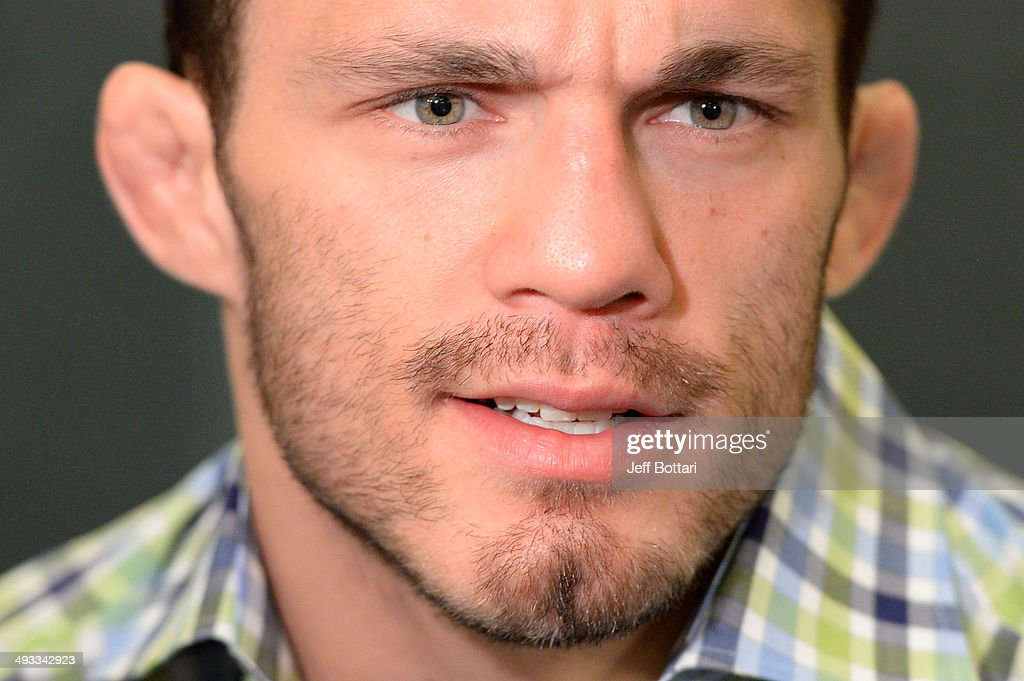 Jake Ellenberger speaks to the media during the UFC 173 Ultimate Media Day at the MGM Grand Garden Arena on May 22, 2014 in Las Vegas, Nevada.