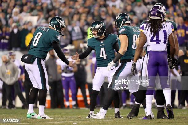Jake Elliott is congratulated by Donnie Jones of the Philadelphia Eagles after kicking a second quarter field goal against the Minnesota Vikings in...