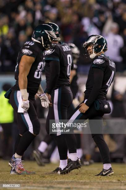 Jake Elliott of the Philadelphia Eagles celebrates with Trey Burton after kicking the game winning field goal in the final moments of the game...