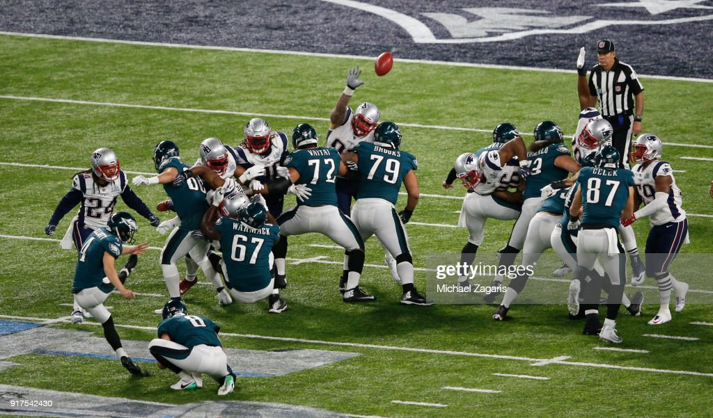 Jake Elliott #4 of the Philadelphia Eagles kicks a PAT during the game against the New England Patriots in Super Bowl LII at U.S. Bank Stadium on February 4, 2018 in Minneapolis, Minnesota.