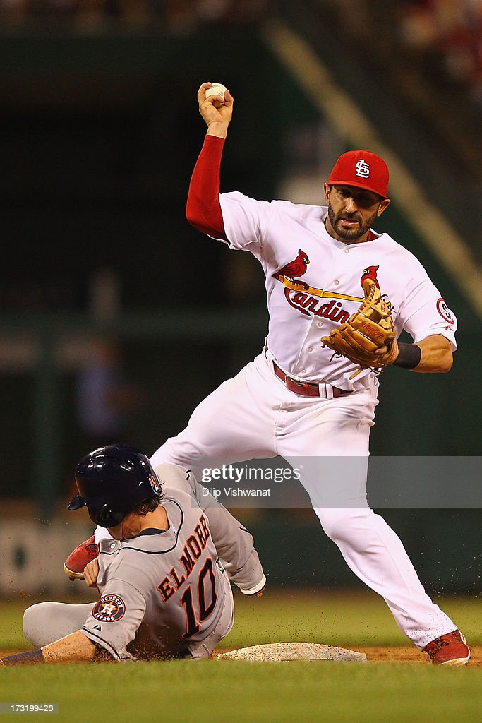 Jake Elmore #10 of the Houston Astros breaks up a double play against Daniel Descalso #33 of the St. Louis Cardinals in the ninth inning at Busch Stadium on July 9, 2013 in St. Louis, Missouri. The Cardinals beat the Astros 9-5.