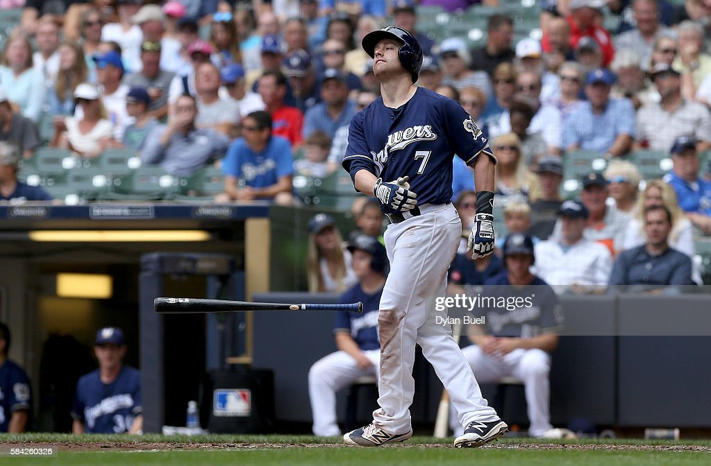 Jake Elmore #7 of the Milwaukee Brewers reacts after striking out in the fifth inning against the Arizona Diamondbacks at Miller Park on July 28, 2016 in Milwaukee, Wisconsin.