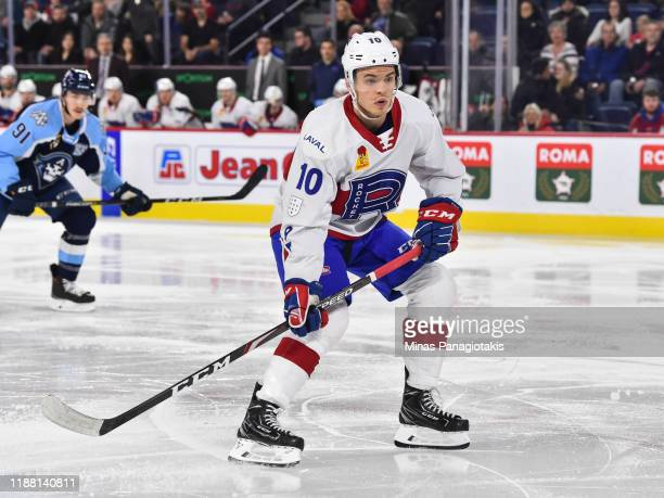 Jake Evans of the Laval Rocket skates against the Milwaukee Admirals during the second period at Place Bell on November 15 2019 in Laval Canada The...