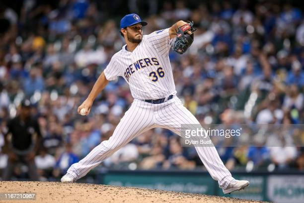 Jake Faria of the Milwaukee Brewers pitches in the eighth inning against the Texas Rangers at Miller Park on August 09 2019 in Milwaukee Wisconsin