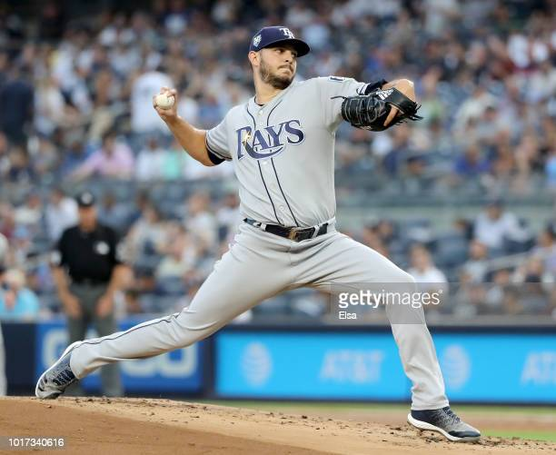 Jake Faria of the Tampa Bay Rays delivers a ptich in the first inning against the New York Yankees at Yankee Stadium on August 15 2018 in the Bronx...