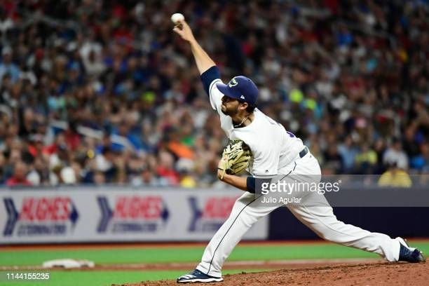 Jake Faria of the Tampa Bay Rays throws a pitch against the Boston Red Sox during the eighth inning at Tropicana Field on April 20 2019 in St...