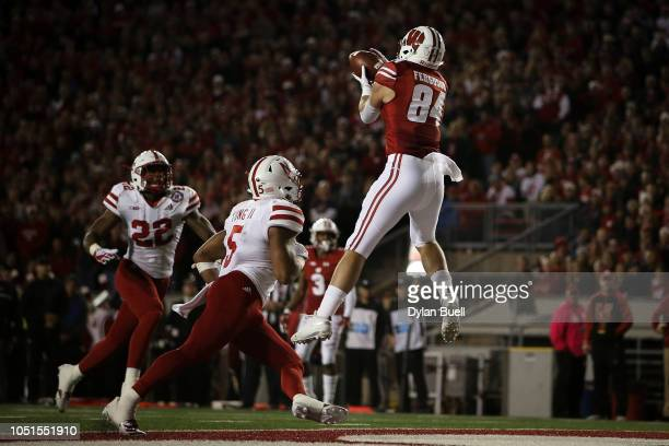 Jake Ferguson of the Wisconsin Badgers scores a touchdown in the second quarter against the Nebraska Cornhuskers at Camp Randall Stadium on October 6...