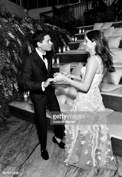 Jake Fleischman and Alexa Dell attend Alexa Dell and Harrison Refoua's engagement celebration at Ysabel on May 12 2018 in West Hollywood California