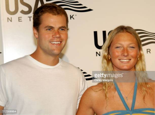 Jake Fortune-Greeley and Maggie Rizer during USA Network Celebrates the Opening of the 2004 US Open at ACES Restaurant at Arthur Ashe Stadium in New...