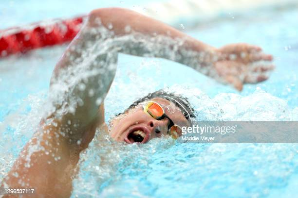 Jake Foster competes in the Men's 200 Meter Freestyle heats on Day Two of the TYR Pro Swim Series at San Antonio on January 15, 2021 in San Antonio,...