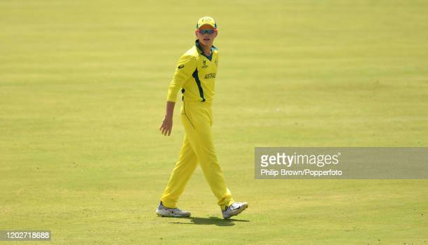 Jake Fraser-McGurk of Australia looks on during the ICC U19 Cricket World Super League Cup Quarter Final 1 match between India and Australia at JB...