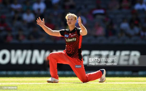 Jake Fraser-McGurk of Renegades appeals unsuccessfully during the Big Bash League match between the Melbourne Renegades and the Brisbane Heat at...