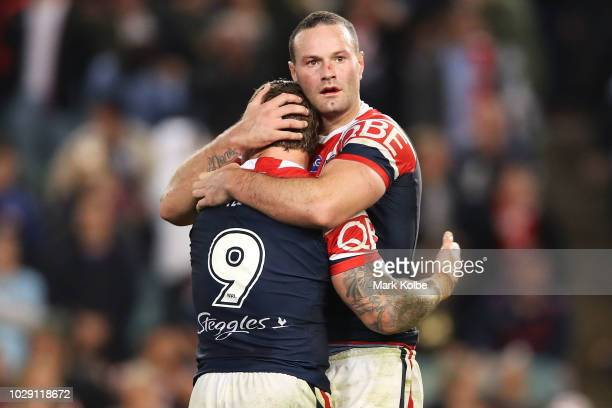 Jake Friend and Boyd Cordner of the Roosters celebrate victory during the NRL Qualifying Final match between the Sydney Roosters and the Cronulla...