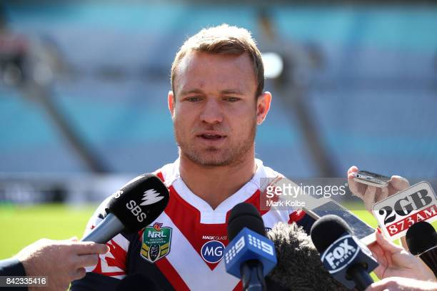 Jake Friend of the Roosters speaks to the media during the 2017 NRL Finals Series Launch at ANZ Stadium on September 4 2017 in Sydney Australia