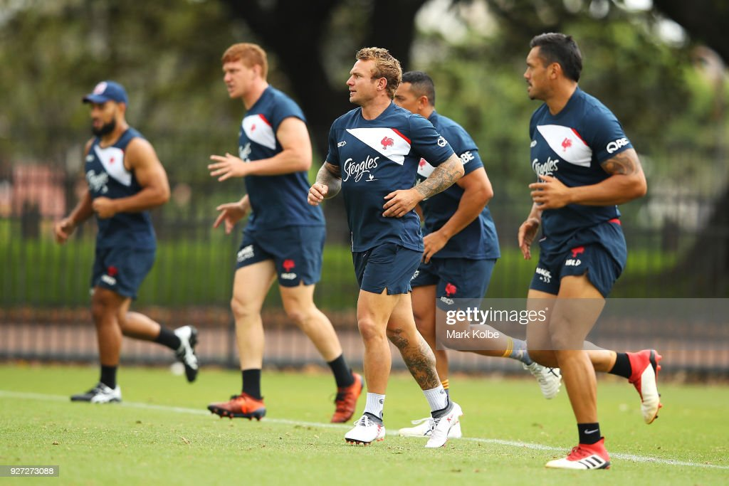 Jake Friend runs during a Sydney Roosters NRL training session at Kippax Lake on March 5, 2018 in Sydney, Australia.