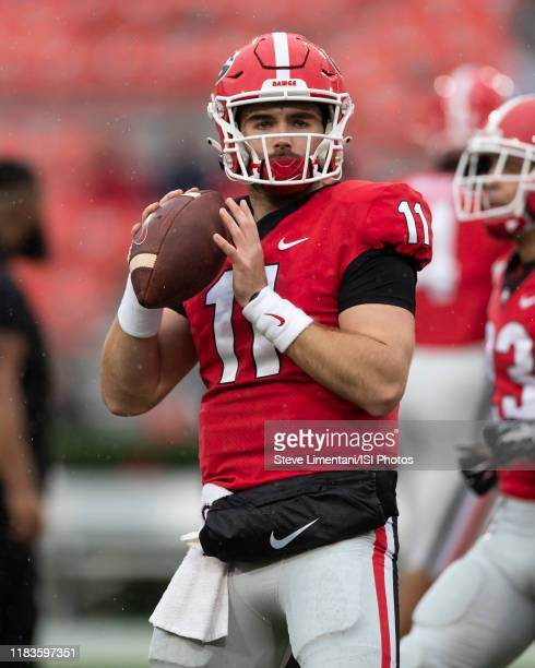 Jake Fromm of the Georgia Bulldogs during a game between University of Kentucky Wildcats and University of Georgia Bulldogs at Sanford Stadium on...