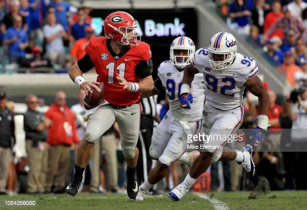 Jake Fromm of the Georgia Bulldogs passes during a game against the Florida Gators at TIAA Bank Field on October 27 2018 in Jacksonville Florida