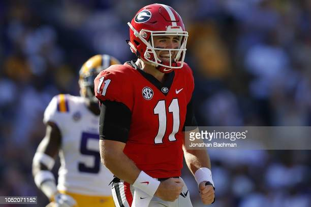 Jake Fromm of the Georgia Bulldogs reacts after throwing an incomplete pass during the first half against the LSU Tigers at Tiger Stadium on October...