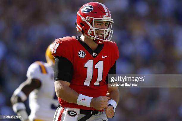 Jake Fromm of the Georgia Bulldogs reacts during a game against the LSU Tigers at Tiger Stadium on October 13 2018 in Baton Rouge Louisiana