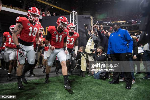 Jake Fromm of the Georgia Bulldogs takes the field against the Alabama Crimson Tide during the College Football Playoff National Championship held at...