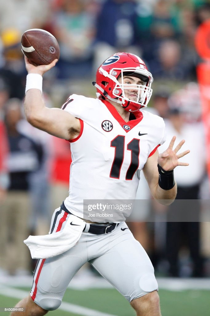 Jake Fromm #11 of the Georgia Bulldogs throws a pass against the Notre Dame Fighting Irish in the first quarter of a game at Notre Dame Stadium on September 9, 2017 in South Bend, Indiana.