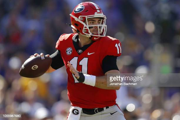 Jake Fromm of the Georgia Bulldogs throws the ball during a game against the LSU Tigers at Tiger Stadium on October 13 2018 in Baton Rouge Louisiana