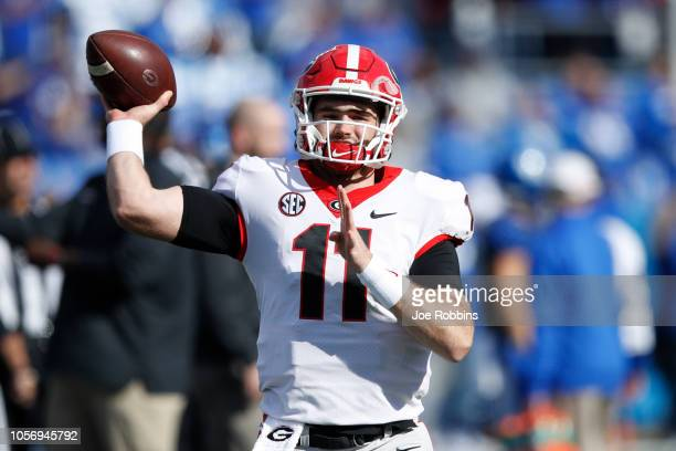 Jake Fromm of the Georgia Bulldogs warms up before the game against the Kentucky Wildcats at Kroger Field on November 3 2018 in Lexington Kentucky