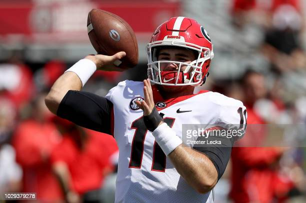 Jake Fromm of the Georgia Bulldogs warms up before their game against the South Carolina Gamecocks at WilliamsBrice Stadium on September 8 2018 in...