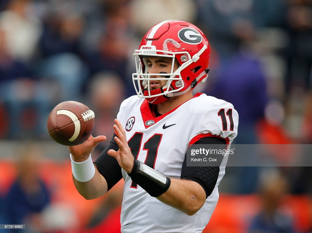 Jake Fromm #11 of the Georgia Bulldogs warms up prior to facing the Auburn Tigers at Jordan Hare Stadium on November 11, 2017 in Auburn, Alabama.