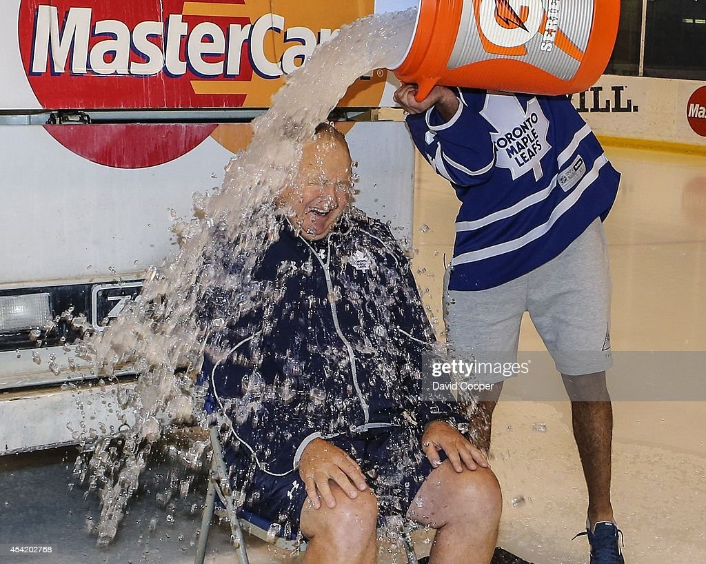 Jake Gardiner dumped a Zamboni full of Ice water on Toronto Maple Leafs head coach Randy Carlyle and then for good measure Nazem Kadri dumped a bucket full on him as well for the ALS ice bucket challenge at the MasterCard Centre for Hockey Excellence August 25, 2014.