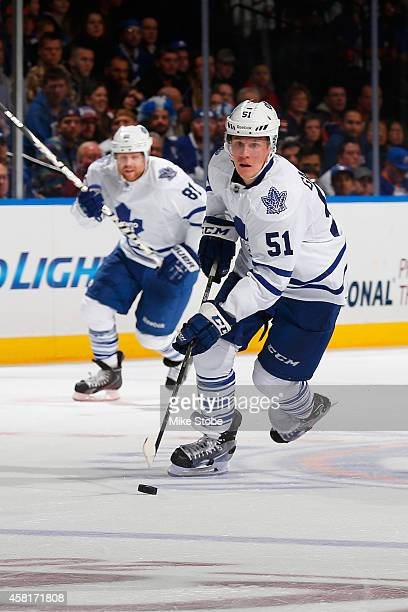 Jake Gardiner of the Toronto Maple Leafs skates against the New York Islanders at Nassau Veterans Memorial Coliseum on October 21 2014 in Uniondale...