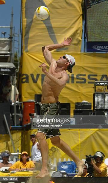 Jake Gibb hits the ball during the AVP 2005 Nissan Series Santa Barbara Open semifinal match up at West Beach on May 22, 2005 in Santa Barbara,...