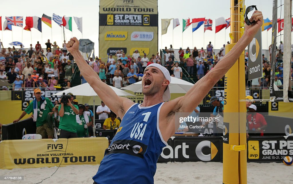 Jake Gibb of the United States celebrates a win in the gold medal match at the FIVB St. Petersburg Grand Slam at Spa Beach on June 20, 2015 in St. Petersburg, Florida.
